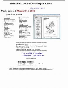 Mazda Cx 7 2009 Service Repair Manual By Repairmanualpdf