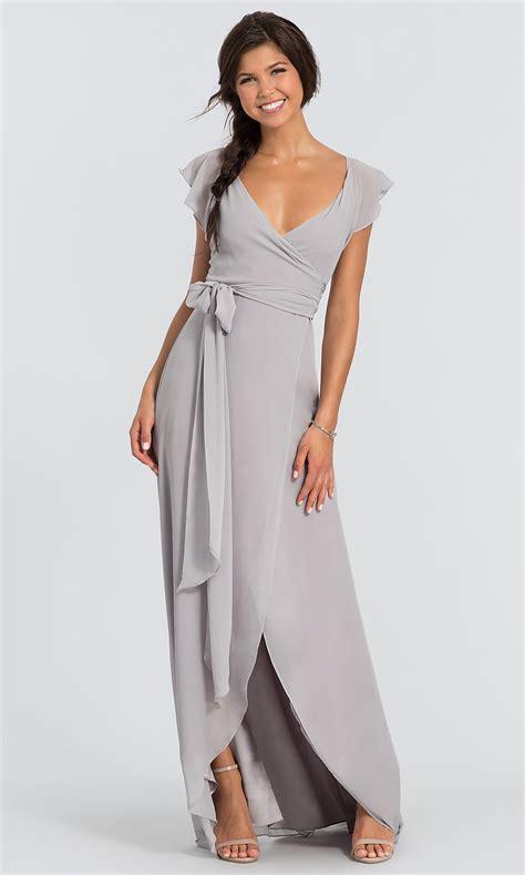 dorian long chiffon  neck wrap bridesmaid dress