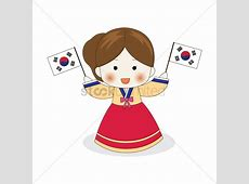 Korean girl holding south korea flags Vector Image