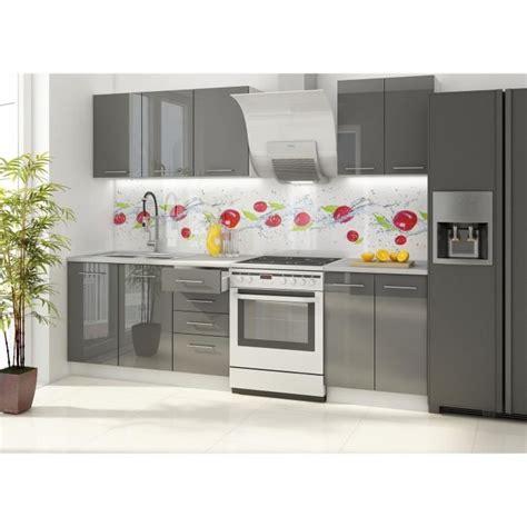 cdiscount meubles cuisine vancouver cuisine complète 180 cm laquée gris achat
