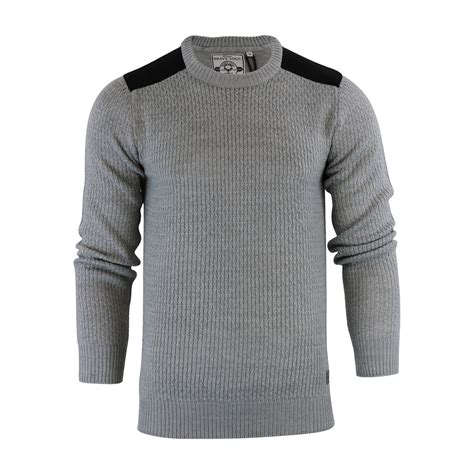 mens patch sweater mens jumper brave soul drax crew neck knitted sweater with