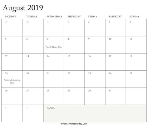 editable calendar august holidays whatisthedatetodaycom