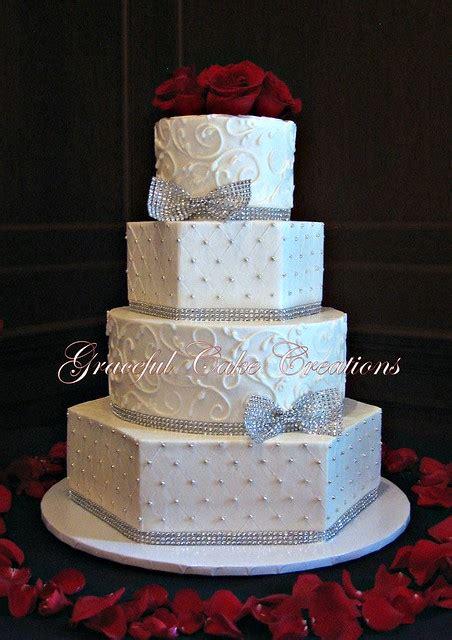 elegant white butter cream wedding cake  silver bling