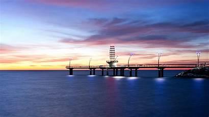 Dock Sunrise Sea Landscape Minecraft Desktop Mobile