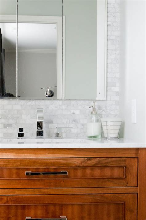 marble brick tile backsplash transitional bathroom