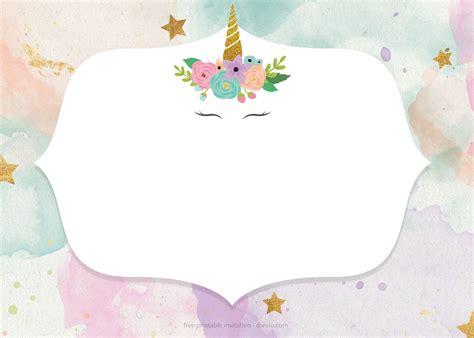 whimsical pastel unicorn birthday invitation