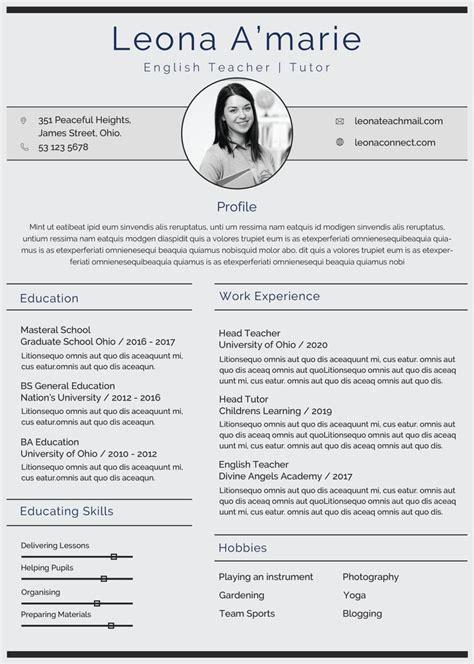 english teacher resume cv template  photoshop psd
