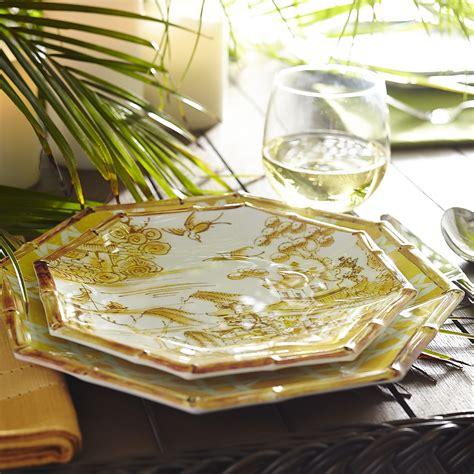 chinoiserie melamine dinnerware yellow pier