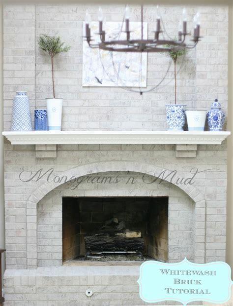 whitewashing a fireplace monograms n mud whitewash tutorial