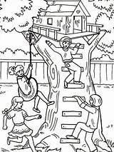 Coloring Treehouse Baumhaus Boomhutten Tree Ausmalbilder Kleurplaat Kleurplaten Playing Colorear Dibujos Malvorlage Malvorlagen Desenhos Colorir Comic Adult Printable Bestcoloringpagesforkids Sheets sketch template