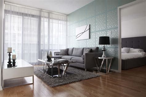 Contemporary Living Room Wallpaper by Contemporary Living Room With Turquoise Geometric
