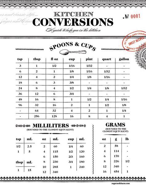 table de conversion cuisine printable kitchen conversion chart sugar and charm