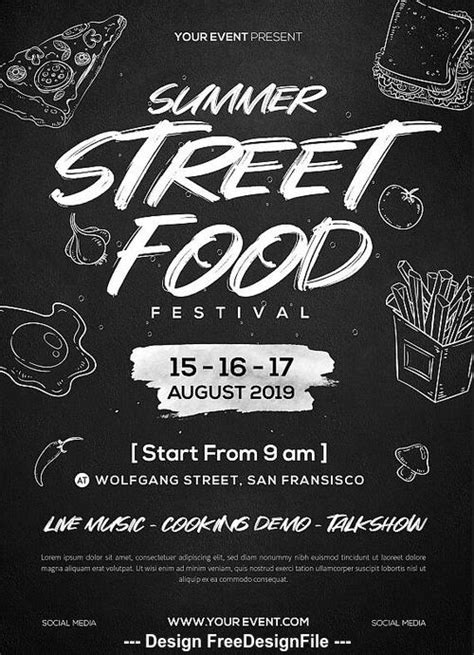Street Food Festival Flyer PSD Template free download