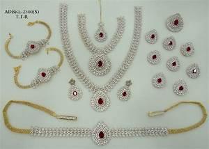 Set Online Shop : adbrl2300ttr american diamond grand full bridal jewellery set buy online ~ Orissabook.com Haus und Dekorationen