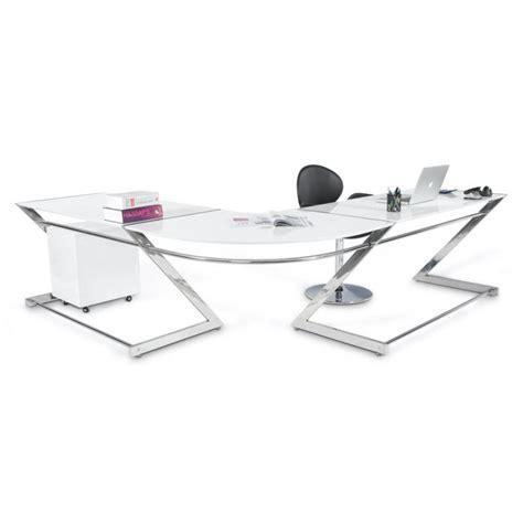 bureau d angle blanc laqué bureau d 39 angle design tutti en bois laqué et métal chromé