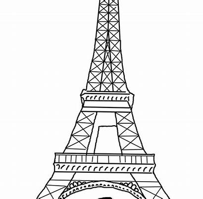 Tower Eiffel Paris Coloring Clipart Printable Drawing