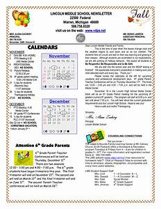 School newsletter templates lincoln middle school for Primary school newsletter templates