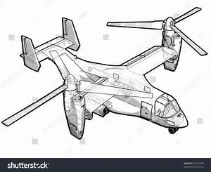Technical Illustration V22 Helicopter Stock Illustration 10345786