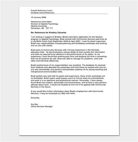 school reference letter format  sample letters