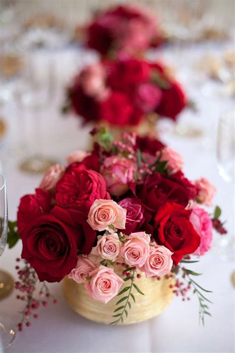 pink red gold tabletop gold vase centerpieces