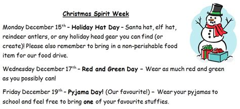 Week wednesday, december 16th put on a christmas sweater and come in from the cold! christmas spirit week | École Opasquia School