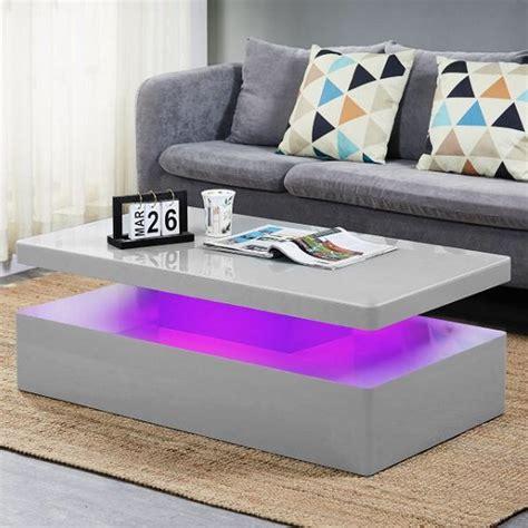 Tiffany white high gloss coffee table with led lighting t s co uk dp b01bgz4y7w r drawers. Quinton Glass Coffee Table In Grey High Gloss With LED | Furnitur