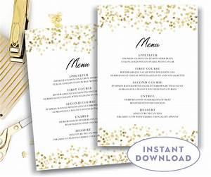Gold wedding menu template 5x7 editable text microsoft word for Free restaurant menu templates for mac