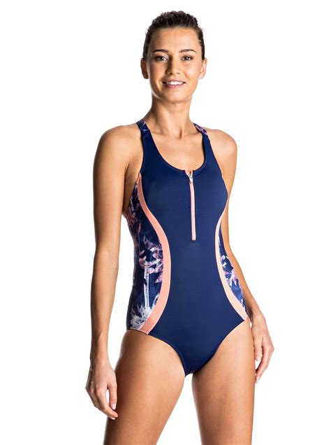 roxy zip front  piece swimsuit erjx roxy