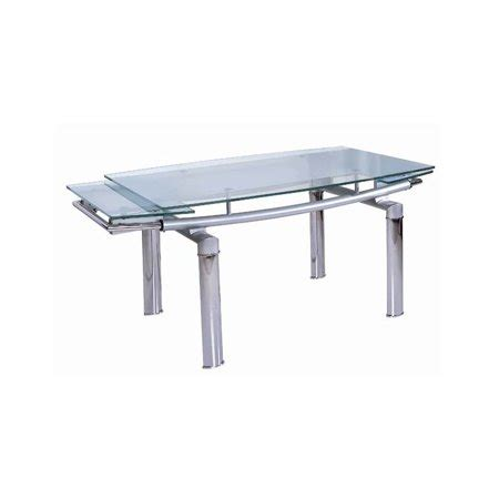 Dining Table w Curved Glass Extension Top Walmartcom