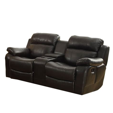 double recliner sofa with console homelegance marille double glider reclining loveseat w
