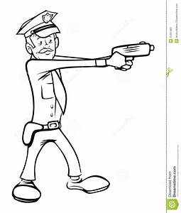 Policeman Shooting Outline Stock Vector Image Of Arrest