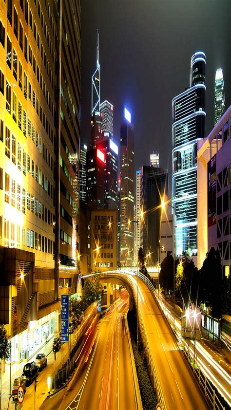 hong kong city night android wallpaper
