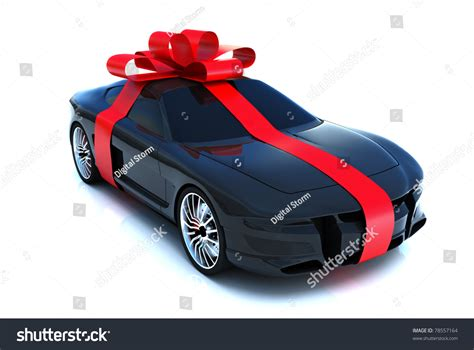 big gift sports car  bow isolated   white