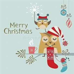 Cute Christmas owls stock vector. Illustration of ...