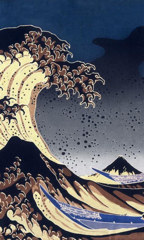 japan paintings sea waves boats kanagawa great wave
