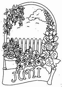 Juni Mit Blumen Ausmalbild Malvorlage Monatsbilder