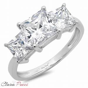 31ct 3 stone simulated princess cut ring engagement With wedding band for 3 stone princess cut engagement ring