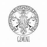 Zodiac Coloring Gemini Horoscope Symbol Adult Printable Signs Simbolo Signe Zodiaque Calendar Het 30seconds Zodiaco Vector Horoscopes Artwork Vektorillustration Adulte sketch template