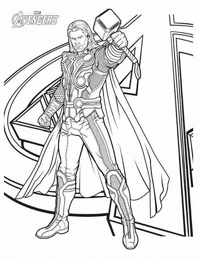 Thor Avengers Coloring Character Pages