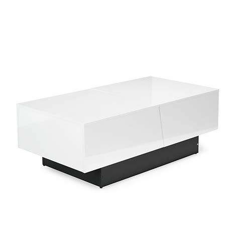 canapé 2 place table basse blanche avec rangement de bar intégré pero