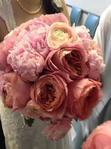 diy bouquet with pink peonies garden roses and ranunculus