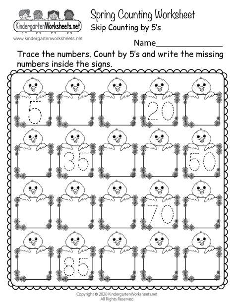 spring counting worksheet  kindergarten seasonal