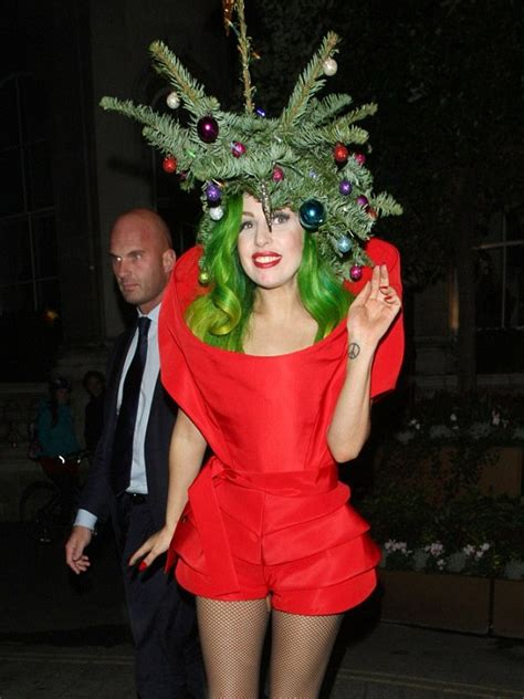 lady gaga spreads holiday cheer as human christmas tree