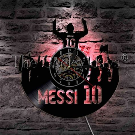 1piece messi 10 soccer silhouette led light vinyl record wall clock football victory