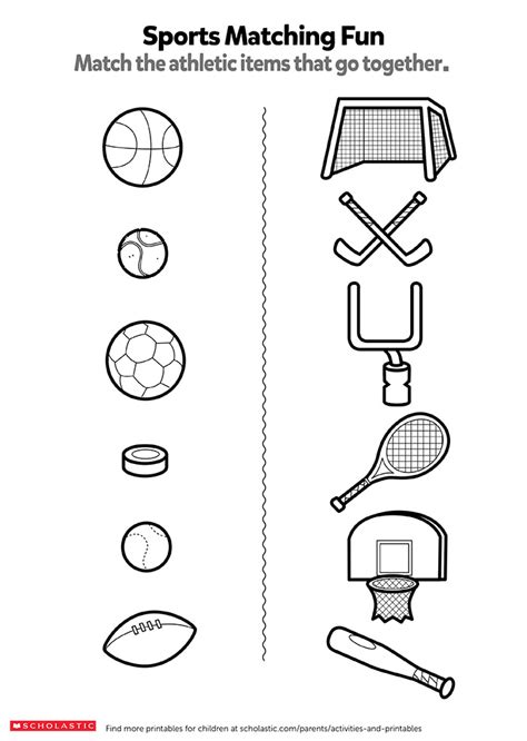 match the sports items worksheets printables scholastic parents