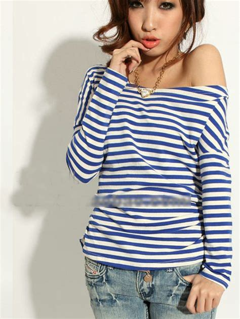sexy women long sleeve boat neck cotton stripes  shirt