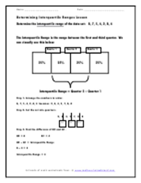 Interquartile Range Worksheets