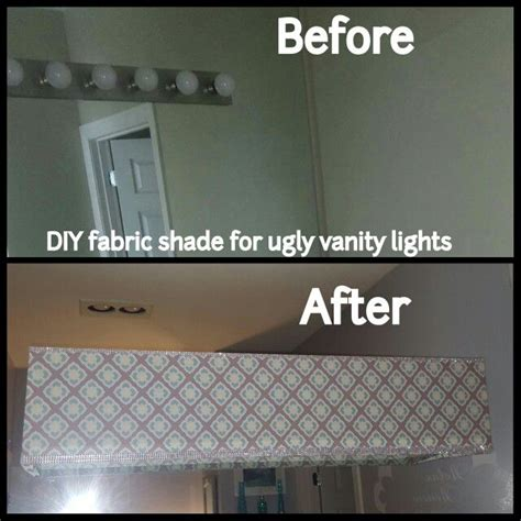 diy fabric shade  vanity lights  master bathroom