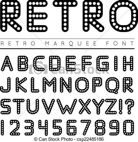 marquee letter font vector of retro marquee font vector illustration on white 53642