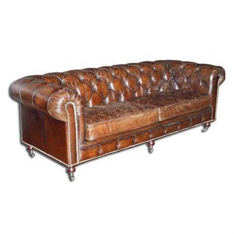 canap 233 chesterfield marron cuir v 233 ritable vieilli achat